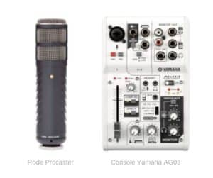 micro rode Procaster XLR table mixage Yamaha