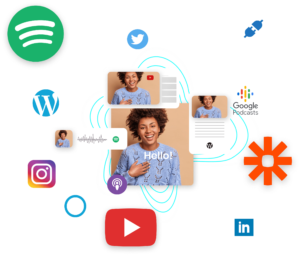 Publication cross-canal sur spotify, google podcast, apple music, youtube, vimeo, tiktok, instagram, facebook, linkedin, wordpress